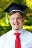 Happy graduating student stock photo