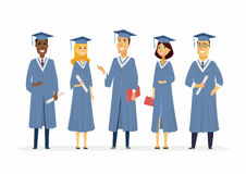 Happy graduating students - cartoon people characters isolated illustration. Composition with celebrating people in academic gowns wearing graduate caps Stock Photo