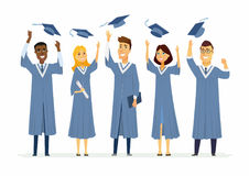 Happy graduating students - cartoon people characters isolated illustration. Composition with celebrating people in academic gowns throwing up graduate caps Royalty Free Stock Photography