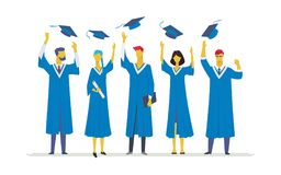 Happy graduating students - flat design style colorful illustration. Composition with celebrating people in academic gowns throwing up graduate caps, holding Stock Photo