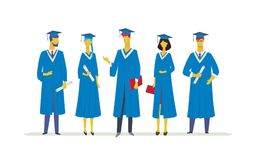 Happy graduating students - flat design style colorful illustration. Composition with celebrating people in academic gowns wearing graduate caps, holding Stock Image