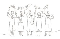 Happy graduating students - one line design style illustration. Composition with celebrating people in academic gowns throwing up graduate caps, holding Royalty Free Stock Photo