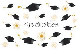 Happy graduating students or pupil hands in throwing graduation caps in the ai stock illustration