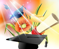 Happy Graduation. Graduation cap, diploma and bouquet Stock Image