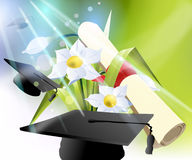 Happy Graduation. Graduation cap, diploma and bouquet Royalty Free Stock Photos