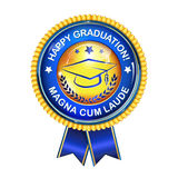 Happy Graduation award ribbon. Happy Graduation elegant award ribbon with cap Stock Photography