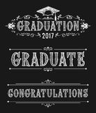Happy Graduation day. Congratulations in Victorian style. Design of greeting cards in vintage style Stock Image