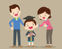 Happy graduation day. Parents standing proud and happy of son holding diploma on graduation day ceremony.happy school kids graduation with dad and mom.Happy Royalty Free Stock Photo