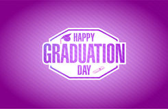 happy graduation day purple card sign Royalty Free Stock Photo