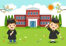 Happy graduation day. School kids graduation in front of school. Building stock illustration