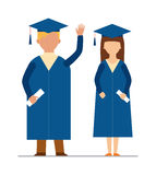 Happy graduation people uniform throwing caps vector. Graduation education people successful graduate students knowledge school university college graduation Stock Photography
