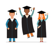 Happy graduation people uniform throwing caps vector. Graduation education people successful graduate students knowledge school university college graduation Royalty Free Stock Photography