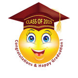 Happy Graduation smiley for Class 2015. Royalty Free Stock Image