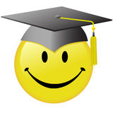 Happy Graduation Smiley Face Graduate Cap Button. A happy smiley face graduate in a graduation day mortar board cap Stock Image