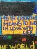 Happy Graffiti. Colourful graffiti in London Shoreditch stock image
