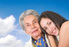 Happy grand mother with her grand daughter Royalty Free Stock Photos