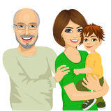 Happy granddad, mother and her son Stock Photo