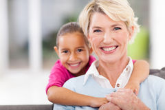 Happy granddaughter grandmother Royalty Free Stock Photos