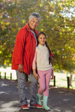 Happy granddaughter with grandmother at park Royalty Free Stock Photos