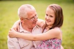 Happy grandfather with grandchild Stock Photos