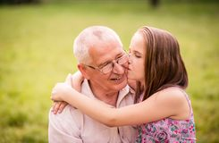 Happy grandfather with grandchild Stock Photos