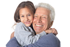 Happy grandfather and granddaughter Royalty Free Stock Images
