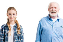 Happy grandfather and granddaughter posing Stock Photography