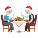 Happy cartoon grandparents at a festive table. Happy grandfather with a grandmother at a Christmas table Stock Photos