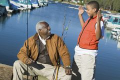 Happy Grandfather With Grandson Stock Images