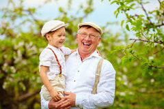 Happy grandfather and grandson having fun in spring garden Royalty Free Stock Photography