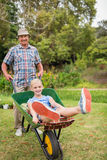 Happy grandfather and his granddaughter with a wheelbarrow Royalty Free Stock Photography