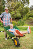 Happy grandfather and his granddaughter with a wheelbarrow Stock Image