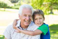 Happy grandfather with his grandson Stock Images