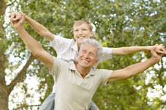 Happy grandfather with his grandson Royalty Free Stock Images