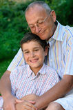 Happy grandfather and kid Stock Photos