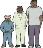 Happy Grandfather with Offspring. Cartoon of happy African father, son and grandson Royalty Free Stock Photos