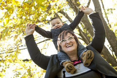 Happy grandma with grandson outdoor Royalty Free Stock Image
