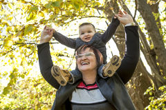 Happy grandma with grandson outdoor Stock Images
