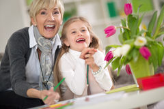 Happy grandma  and little girl Stock Images