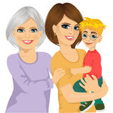 Happy grandma, mother and her son Stock Images