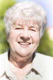 Happy Grandmother. Portrait Of Happy Senior Woman Grandmother With Gray Or Grey Hair Outdoors Royalty Free Stock Photos