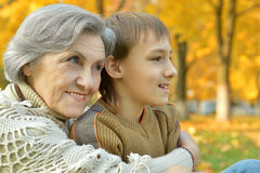 Happy grandmother with boy Stock Photo