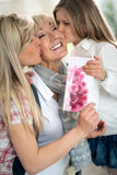 Happy grandmother day. Grandmother and daughter kissing senior woman, happy grandmother day Stock Photography