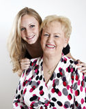 Happy Grandmother and Grandaughter Stock Images