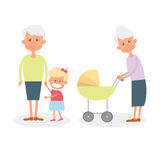 Happy grandmother with grandchildren. Cute Senior woman with granddaughter. Vector Illustration of happy retirement grandparents. Royalty Free Stock Photography