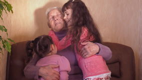 Happy grandmother with grandchildren.