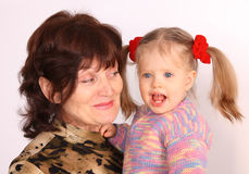 Happy grandmother and granddaughter. Stock Photos