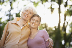 Happy Grandmother And Granddaughter In Park Stock Images