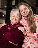 Happy grandmother and granddaughter Stock Images