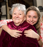 Happy grandmother and granddaughter Royalty Free Stock Image